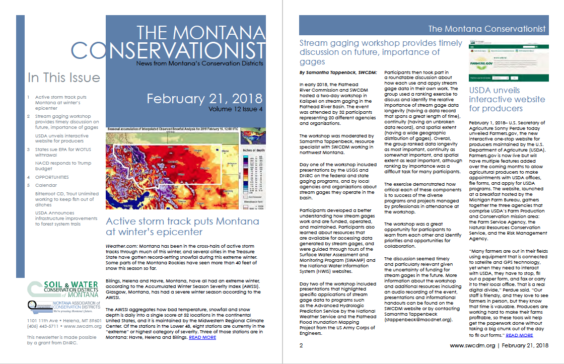 The Montana Conservationist February 21 Park Conservation District